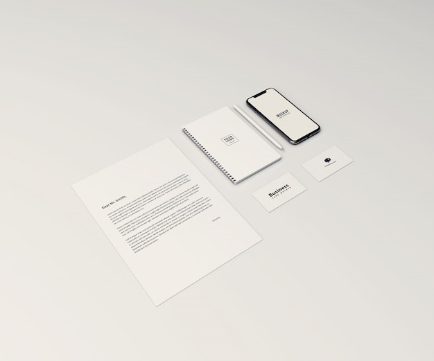 Perspective stationary mockup with mobile phone