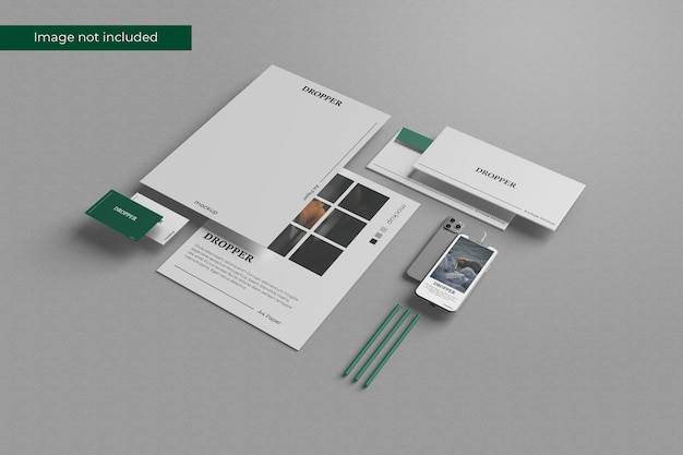 Perspective stationery mockup design in 3d rendering