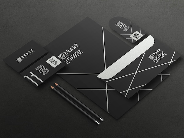 Perspective stationery set mockup
