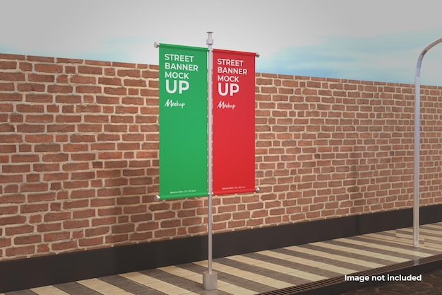 Perspective two street banner mockup