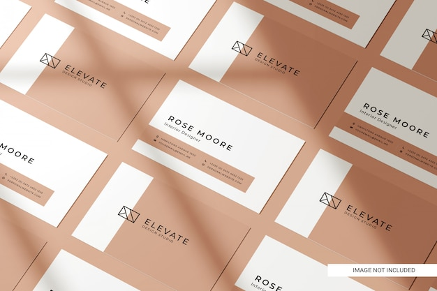 Perspective view business card mockup