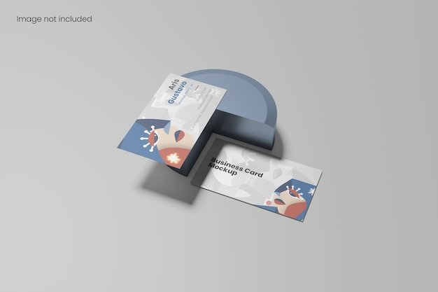 Perspective view minimalist business card mockup