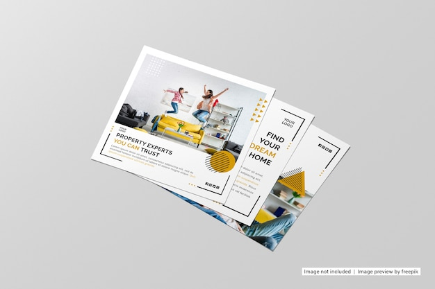 Perspective view square flyer mockup