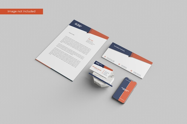Perspective view stationery mockup