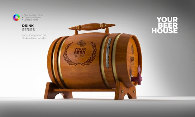 Perspective view wooden beer or whiskey barrel