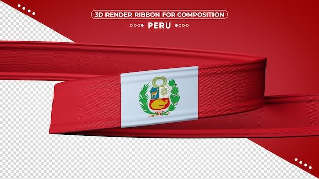 Peru 3d render ribbon for composition
