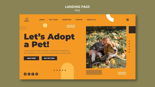 Pet adoption landing page