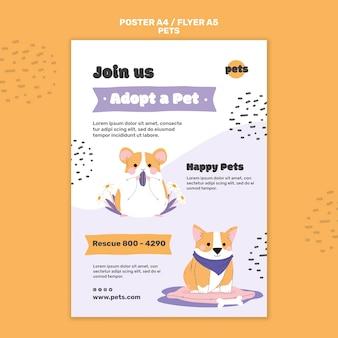 Modello di stampa di adozione di animali domestici