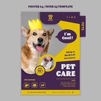 Pet care poster template Free Psd