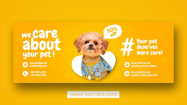Pet care promotion social media facebook cover banner template
