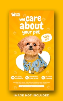 Pet care service promotion social media instagram story banner template