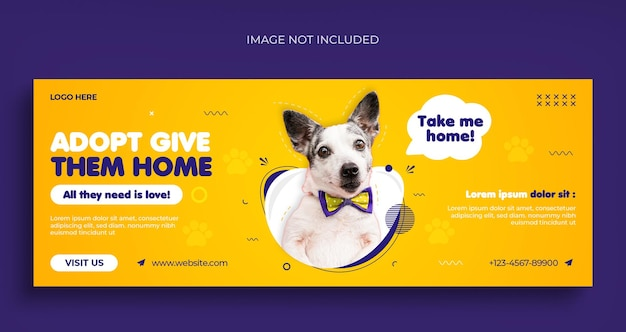 Pet care social media web banner flyer and facebook cover design template