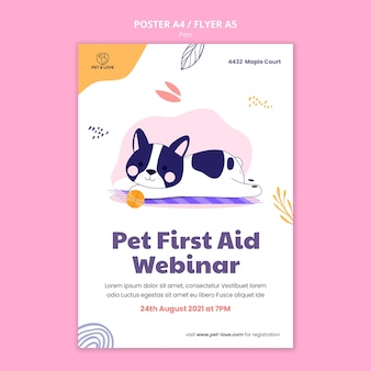 Pet first aid poster template