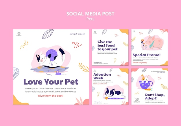 Pet love social media post template