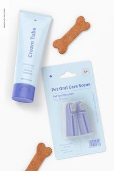 Mockup di scena di igiene orale per animali domestici, vista dall'alto