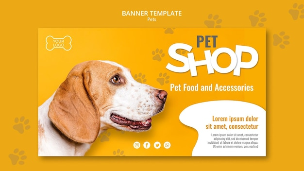 Pet shop banner template with photo