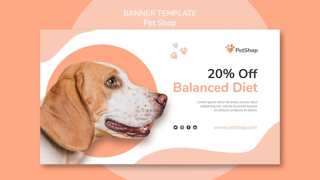 Pet shop banner template