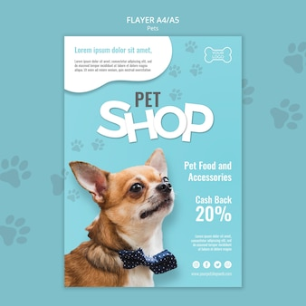 Pet shop flyer template with photo