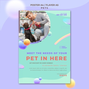 Pet shop grand opening poster template