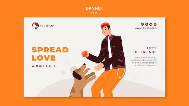 애완 동물 가게 가로 배너 서식 파일