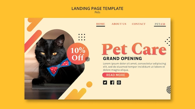 Pet shop landing page template