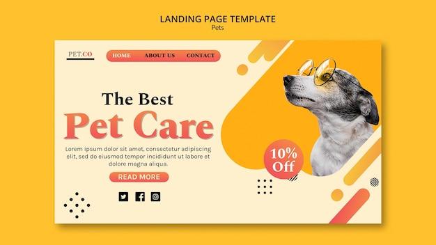 애완 동물 가게 방문 페이지 템플릿 프리미엄 PSD 파일