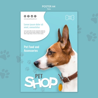 Pet shop poster a4 template
