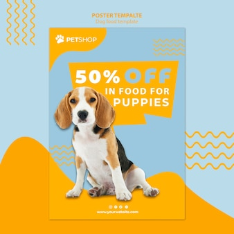 Pet shop poster template concept with dog food