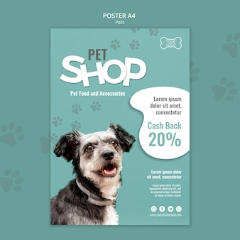 Pet shop poster template with photo of dog
