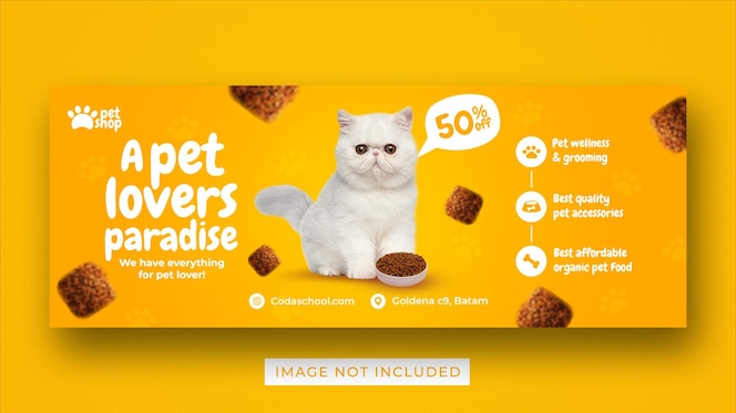 pet shop promotion social media facebook cover banner template