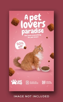 Pet shop promotion social media instagram story banner template
