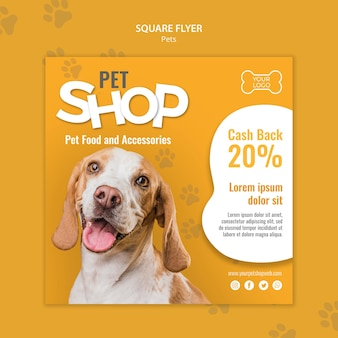 Pet shop square flyer template with photo
