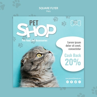 Pet shop square flyer template