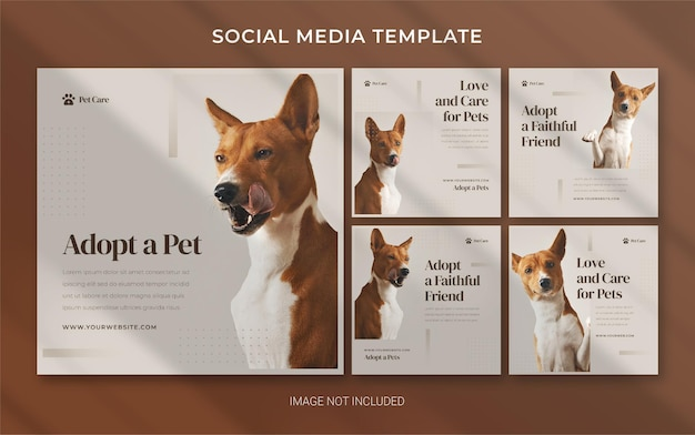 Pet shop square instagram banner template