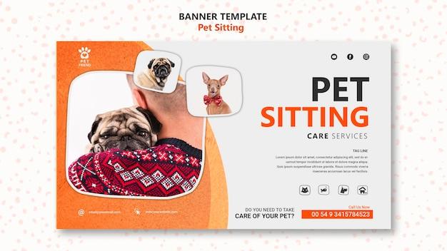 Modello di banner di concetto di pet sitting