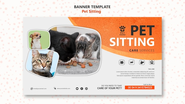 Pet sitting concept banner template
