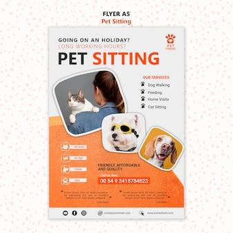Pet sitting concept flyer template