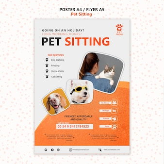 Pet sitting concept flyer template