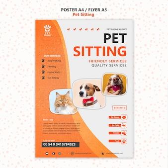 Modello di volantino di concetto di pet sitting