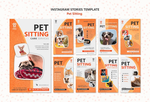 Pet sitting concept instagram stories template