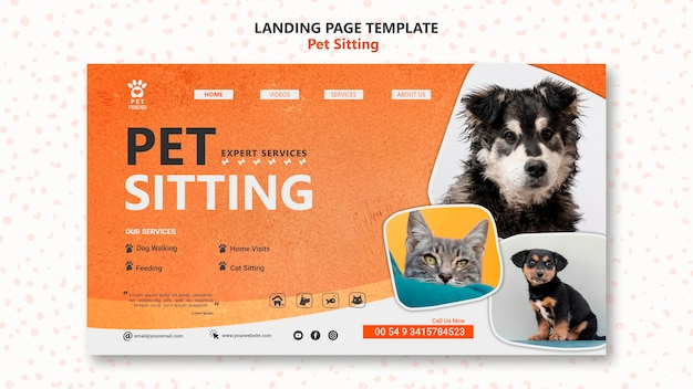 Pet sitting concept landing page template