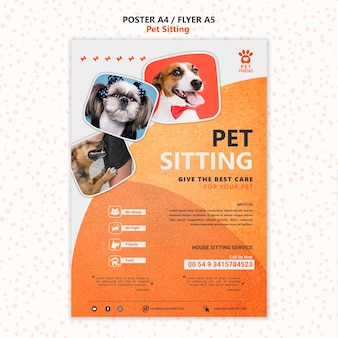 Pet sitting concept poster template