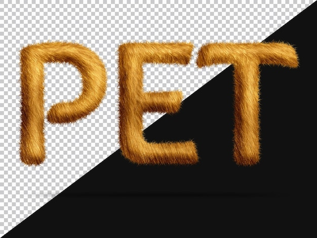 Pet text with realistic 3d fur