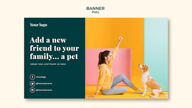 Modello di banner di animali domestici