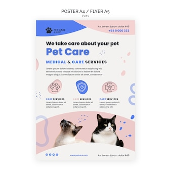 Modello di progettazione del poster per la cura degli animali domestici