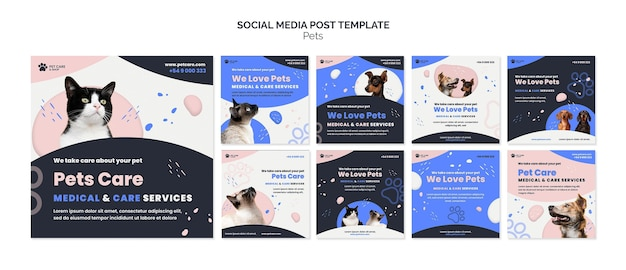 Pets care social media post design template