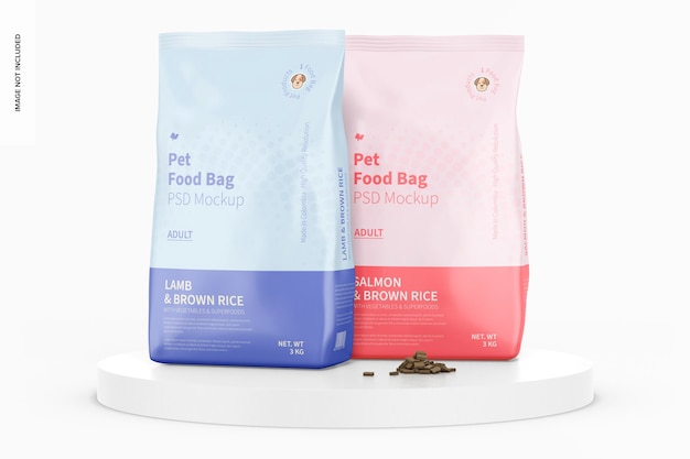 Мокап мешков с едой для домашних животных