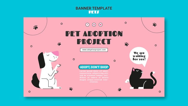 Pets horizontal banner template