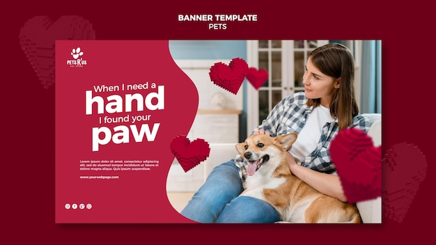 Pets horizontal banner with photo