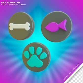 Pets icons 3d